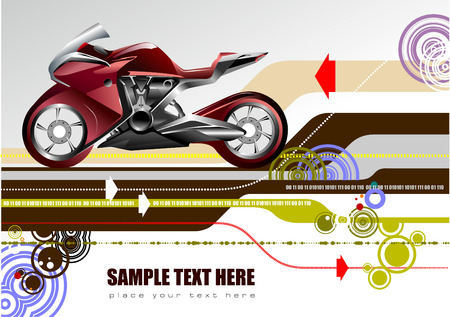 Abstract hi-tech background with bike image. Vector Vector