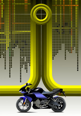 Abstract hi-tech background with motorcycle image. Vector Vector