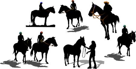 Siluetas de Sevenhorse. Ilustración vectorial