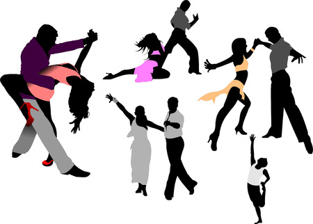 elasticity: Dancing people. Vector illustration
