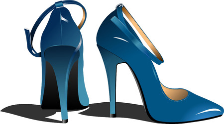 leather shoe: Fashion blue woman shoes. Vector illustration