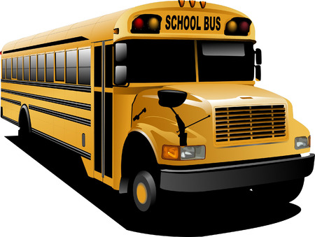 Yellow school bus. Vector illustration Vector