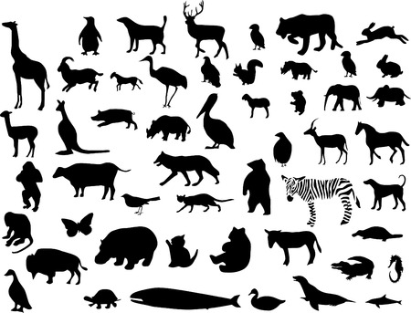 Collection of animal silhouettes. Vector illustration. One click color change Vector