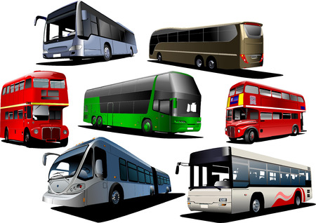 excursion: Seven types of  bus. Vector illustration Illustration