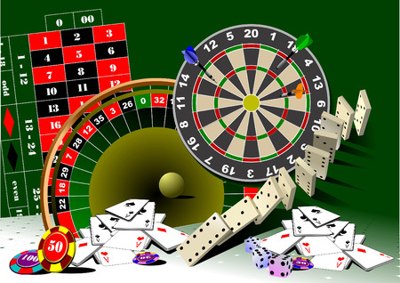 roulette table: Roulette table and casino elements. Vector illustration