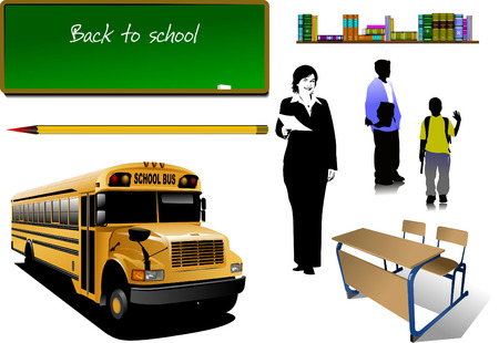 Back to school. School equipment  with teacher and school boys image. Vector Vector
