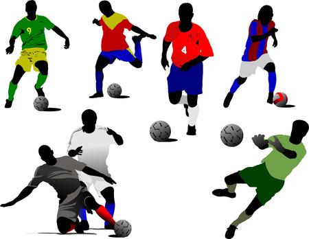 Set of soccer players. Vector illustration