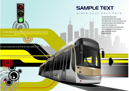 tram: Abstract hi-tech background with tram image. Vector Illustration