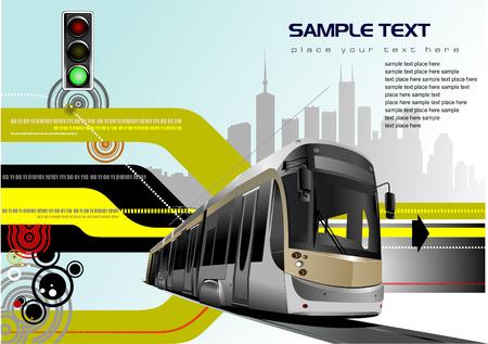 tramway: Astratto sfondo hi-tech con immagine di tram. Vettore