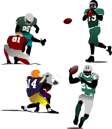 tackling: American football  silhouettes in action. Vector illustration
