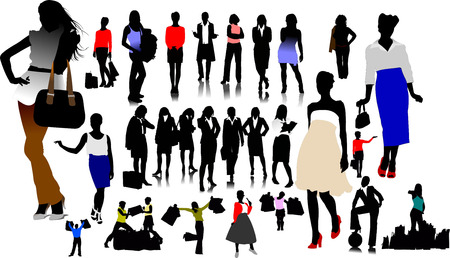 Women silhouettes. Vector illustration Stock Vector - 5738608