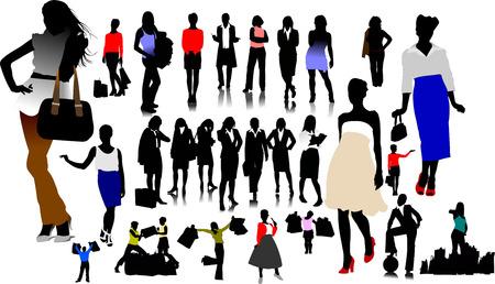 secretary woman: Women silhouettes. Vector illustration Illustration
