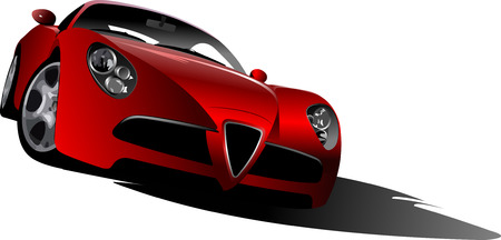 red sports car: Sport  car on the road. Vector illustration