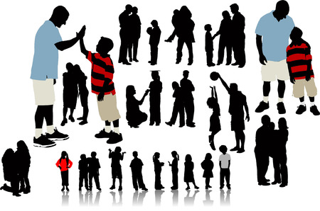Children  silhouettes. Vector illustration Vector