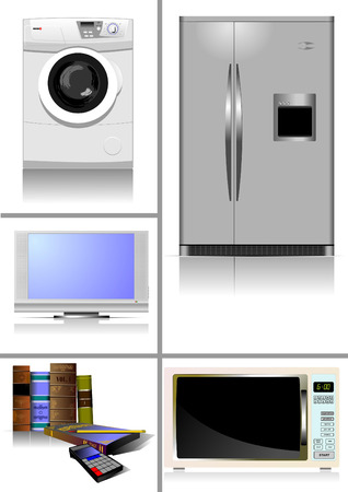 bath room: Home equipment. Kitchen. Living room. Library. Vector