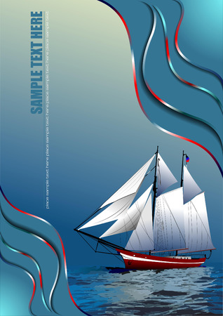 brigantine: Cover for brochure with old sailing vessel Illustration