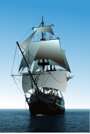 Cover for brochure with old sailing vessel Illustration