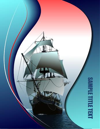 sailing vessel: Portada para folleto con velero de edad