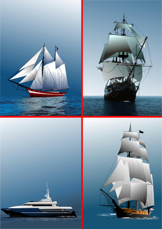 galley: Four old sailing vessels. Vector illustration