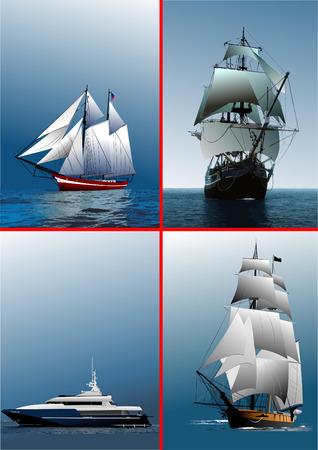 explore: Four old sailing vessels. Vector illustration