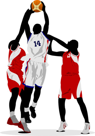 hopping: Basketball players. Vector illustration