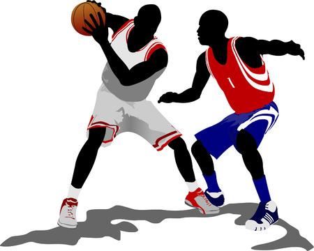 Basketball players. Vector illustration Stock Vector - 5742460