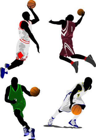 dribbling: Basketball players. Vector illustration