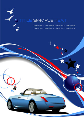 background vector: Blue business background with car image. Vector illustration