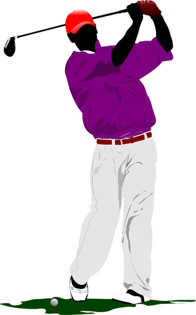 golpeando: Golfista golpear la bola con el club de hierro