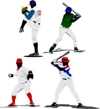 baseballs: Four Baseball players. Vector illustration Illustration