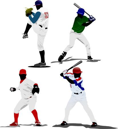 Four Baseball players. Vector illustration Stock Vector - 5742482