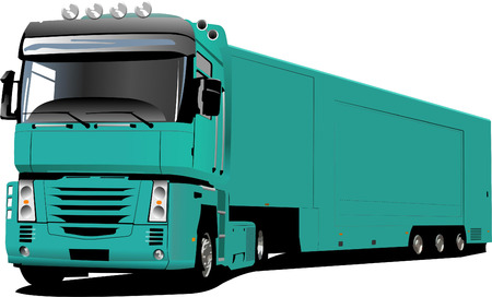 Colored Vector illustration of truck. Help for designers Vector