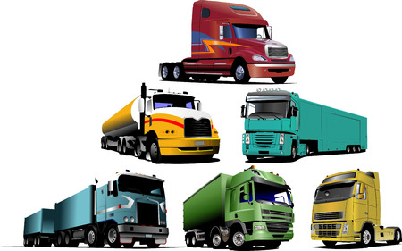 Colored Vector illustration of trucks. Help for designers Vector