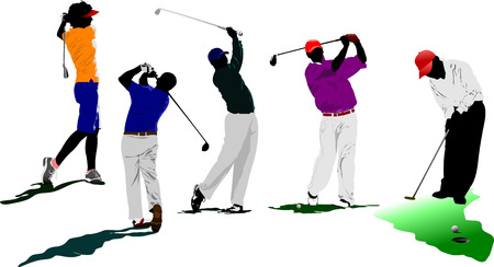 Iron Man: Golf players. Vector illustration  Illustration