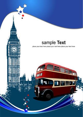 londres autobus: Portada para folleto con im�genes de Londres. Vector illustration