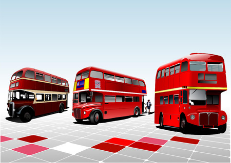 route master bus: Three London double Decker red buses. Vector illustration