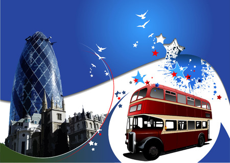route master bus: Two London images on blue background. Vector illustration