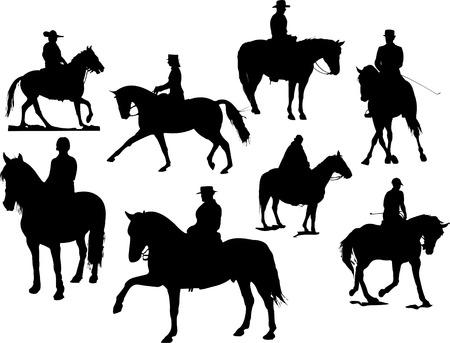 Ocho siluetas de jinete de caballos. Ilustración vectorial