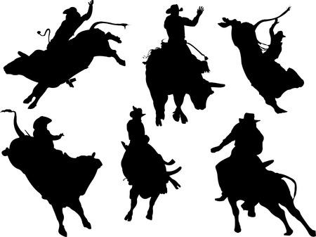 toros: Seis de siluetas de rodeo. Ilustraci�n vectorial