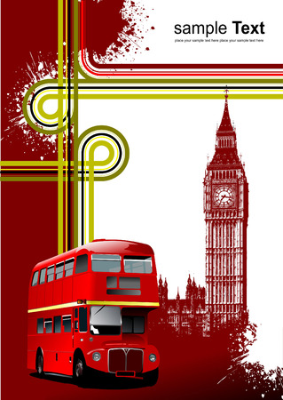 route master bus: Cover for brochure with London images. Vector illustration
