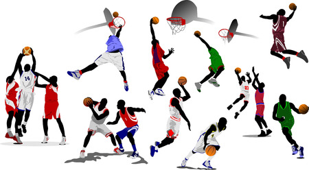 Basketball players. Vector illustration Stock Vector - 5742491