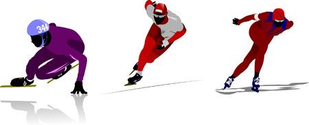 deslizamiento: Patinaje sobre hielo de siluetas de deporte. Ilustraci�n vectorial