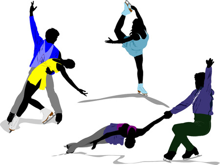 Figure skating colored silhouettes. Vector illustration Stock Vector - 5742471