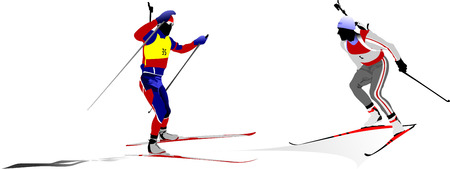 Biathlon guys silhouette. Vector illustration Stock Vector - 5742469