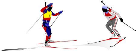 Biathlon guys silhouette. Vector illustration Stock Vector - 5742469