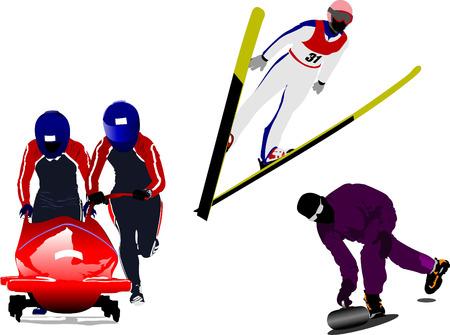 winter sport: Winter sport silhouettes. Bobsleighing, ski  jumping, curling. Vector illustration Illustration