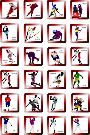 bobsled: Sport silhouette icons. Vector illustration Illustration