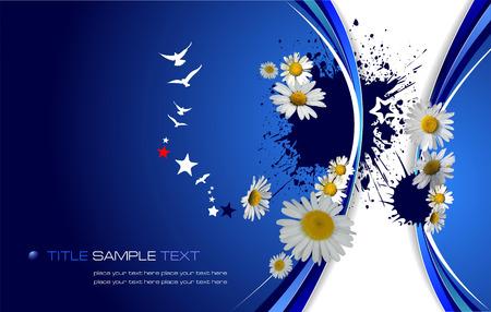 oxeye: Blue floral background. Vector illustration Illustration