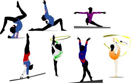 gimnastas: Siluetas colores Gimnasia de mujer. Ilustraci�n vectorial Vectores
