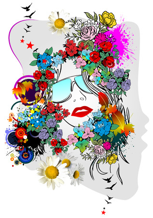 Floral woman silhouette. Vector illustration Stock Vector - 6198390